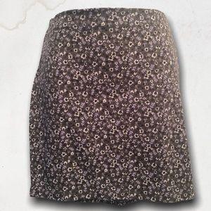Green / Grey Floral Design Mini Skirt